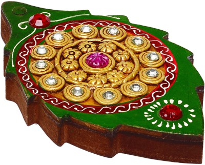 Aapno Rajasthan Leaf Design Wood And Clay Jewellery Vanity Box