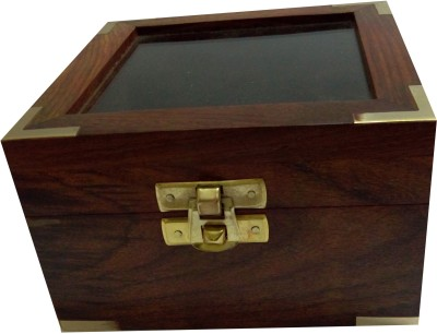 Kartique Hand Made Box in smooth Finish with Glass Lid Jewellery Box Vanity Box