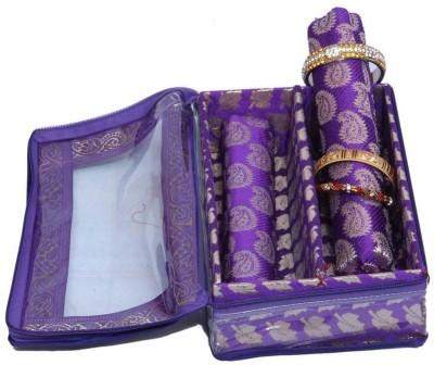 Ermani Export Bangle Box 2 Rod in Royal Blue Brocade Bangle Box Vanity Box