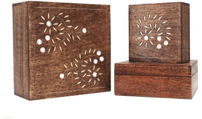 Store Indya Beautiful Set of 3 Keepsake Storage with Glass Work in Floral Patterns Jewellery Vanity Box
