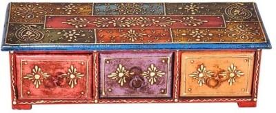 Purpledip Colorful Ceramic Wooden Jewelery Vanity Box(Multicolor)