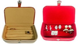 Abhinidi Pack of 2 Ring box earring case Travelling Pouch Box Vanity Jewellery