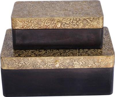 Craftkriti Brass Jewellery Box: Set of 2 Ornaments Vanity Box