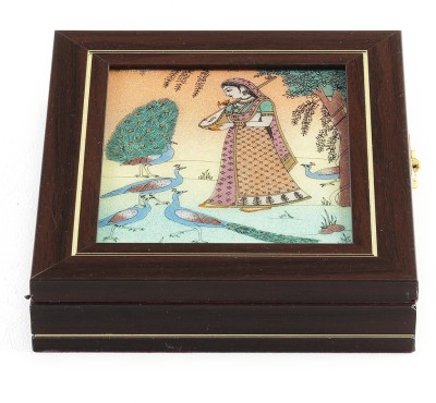 Aapno Rajasthan Gem Casket Made From Solid Wood, Stone Inlay Work Jewellery Box Vanity Box