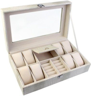 BlushBees Leather Jewelry & Watch Box Organizer with Latch Lock & Clear Top - Organiser Vanity Box