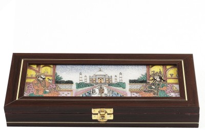 Aapno Rajasthan Taj Mahal Design Precious Stones Inlay Work Gem Jewellery Vanity Box
