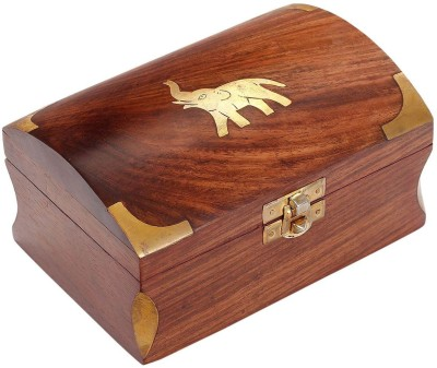 Craft Art India Handcrafed Small Wooden Jewellery Box with Embossed Brass Design Jewellery Vanity Box