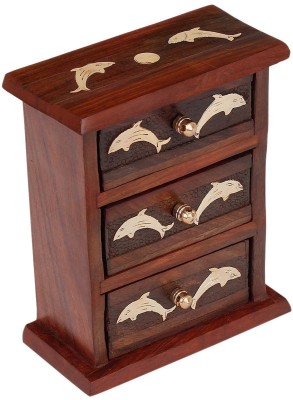 Craft Art India Handmade Wooden Small / Mini Almirah / Jewellery Organiser with Brass Embossed Jewellery Vanity Box