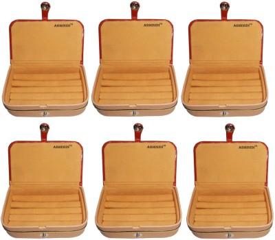 Abhinidi Set of 6 velvet ring storage travelling folder case Box Vanity Box(Brown)