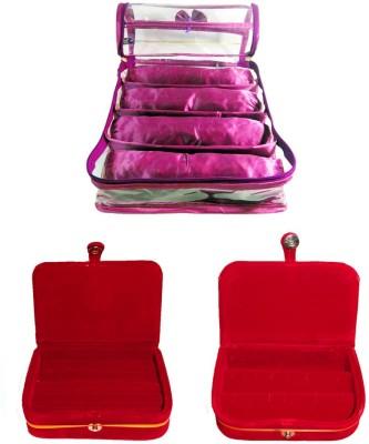 Atorakushon Satin 4 Rods Bangle box Jewellery Ring & Earring Storage Case Vanity Box