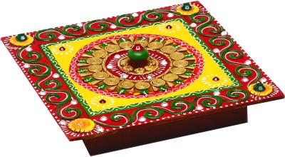 Aapno Rajasthan Multipurpose Handmade Wood And Clay Square Box Jewellery Vanity Box