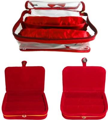 Atorakushon Satin 2 Rods Bangle box Jewellery Ring & Earring Storage Case Vanity Box