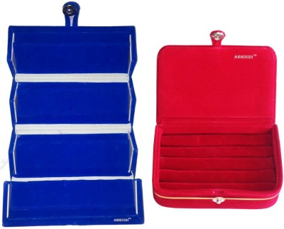 Abhinidi Combo blue earring folder and red ring Box Vanity Box(Blue, Red)