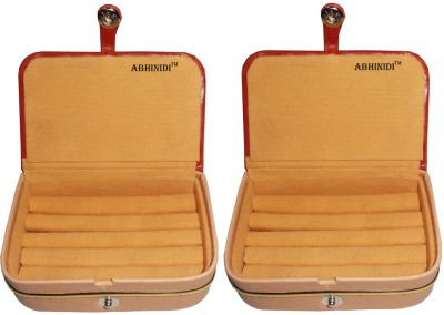 Abhinidi Set of 2 velvet ring storage travelling folder case Box Vanity Box(Brown)