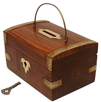 Crafts,man Handmade Wooden Money Bank A Piggy Bank Cum Coin Bank 5 x 3.5 Inch With Key...Coin Storage Box Vanity Box