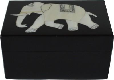 Craftuno Handcrafted Rectangular Black Marble Box With Inlay Work Multipurpose Decorative Vanity Box