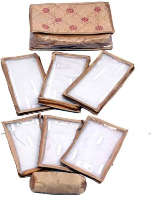 Kuber Industries Locker Jewllery Kit Golden In Quilted Satin with Six Flaps & one Bangle Makeup Vanity Box