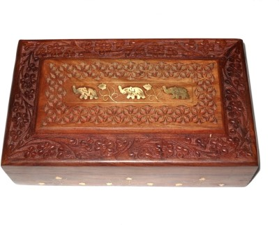 Crafts Paradise Hand Carved And Elephant Design Brass Inlay Work Jewellery Vanity Box