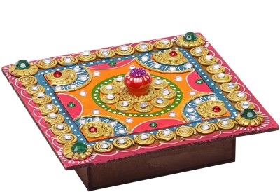 Aapno Rajasthan Square Hand Painted Decorative Wood And Clay Work Box Jewellery Vanity Box