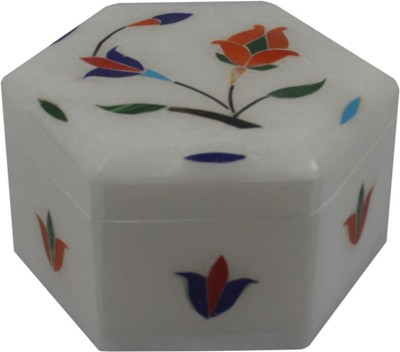 Craftuno Handcrafted Hexagonal Marble Box With Inlay Work On All Sides Multipurpose Decorative Vanity Box
