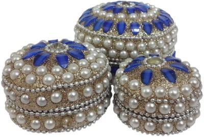 Dineshalini White & Royal Blue Multipurpose Box Vanity Box