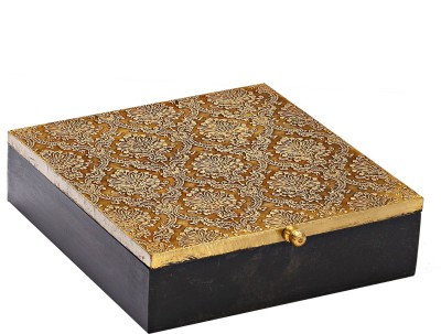 Aapno Rajasthan Square Shape With Golden Work Multiutility Vanity Box
