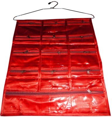 Atorakushon 13 Pocket Hanging Jewellery Makeup Cosmetic Satin Bag Bindi Organiser Cover Storage Pouch Vanity Box