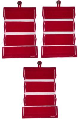 Abhinidi Set of 3 Maroon velvet coated Earring folder case Box Vanity Box(Maroon)