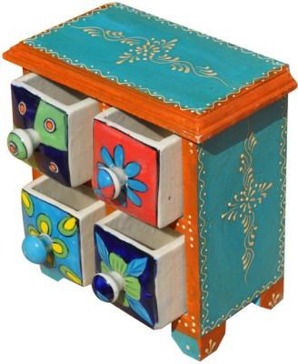 Purpledip Colorful Ceramic Wooden Jewelery Vanity Box