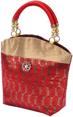 PRETTY KRAFTS Hand Purse Shine (Brocade) Maroon Fashion Bag Vanity Box