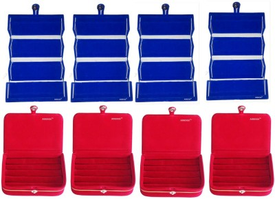 Abhinidi Pack of 8 Combo blue earring folder and red ring Box Vanity Box(Blue, Red)