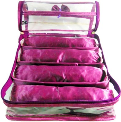 Atorakushon 4 Rods Bangle box Jewellery Organiser Pouches Storage Case Vanity Box