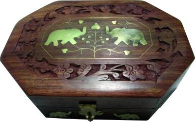 Evergreen Hand Made Designer Makeup and Jewellery Vanity Box(Brown)