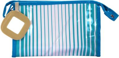 PRETTY KRAFTS Travel Vanity Kit Stripes - Blue Makeup Vanity Box