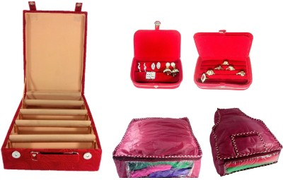 Addyz Combo Of 4 Rod Wooden Banglebox, Earring, Ring Box With 1 Saree 1 Blouse Cover. Jewellery Vanity Box