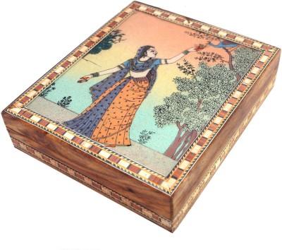 R S Jewels Brown Wooden Gemstone Ladies Painting 6 x 5 Jewellery Vanity Box