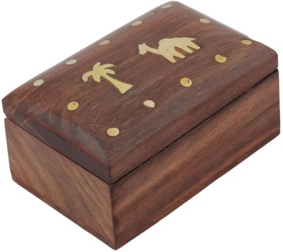 Craft Art India Beautiful Small Wooden With Embossed Brass Palm Tree And Camel Jewellery Vanity Box