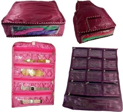 Kuber Industries 4 pcs Combo in satin Jewellery Vanity Box