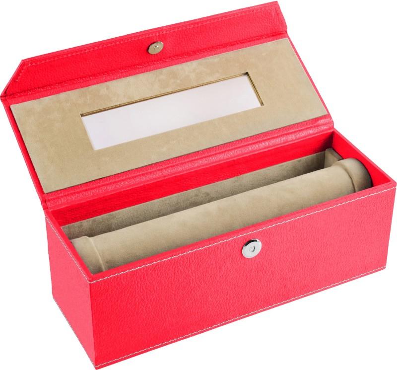 Ecoleatherette 1 Rod Bangles Vanity Box(Dark Pink)