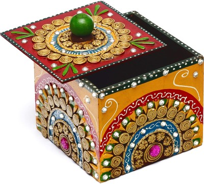 Aapno Rajasthan Wood And Clay Utility Box With Hand Painted Work Jewellery Vanity Box