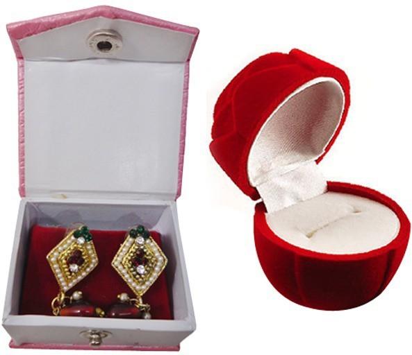 Atorakushon Flower Ear & Ring Box Vanity Box(Red)