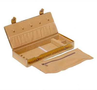 Kuber Industries Make Up Box, Cosmetic Box in Coated Hard Board (Golden) Jewellery Vanity Box