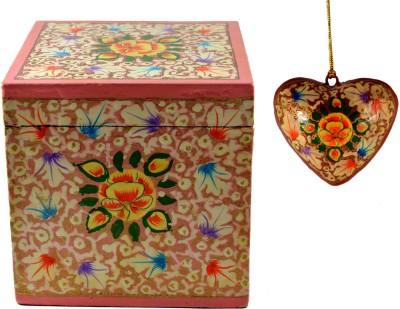 Craftuno Handcrafted Paper Mache Box & Heart Set Showpiece Vanity Box