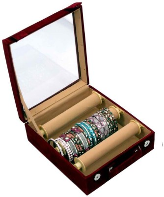 Kuber Industries Bangle Box Maroon Three Roll Makeup Vanity Box