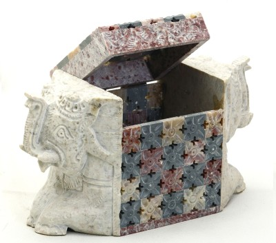 Aapno Rajasthan Elephant Shaped Box With Jaali Design Multiutility Vanity Box