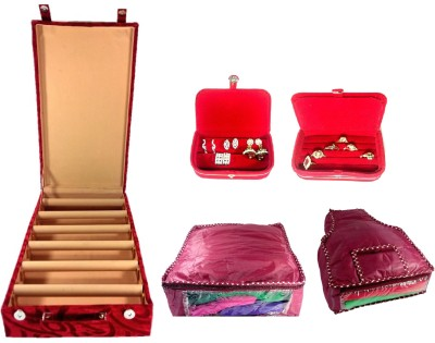 Addyz Combo Of 6 Rod Wooden Banglebox, Earring, Ring Box With 1 Saree 1 Blouse Cover Jewellery Vanity Box