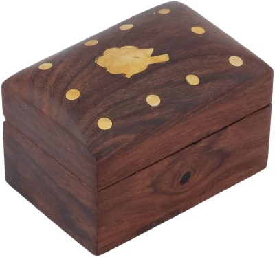 Craft Art India Beautiful Small Wooden With Embossed Brass Leaf Jewellery Vanity Box