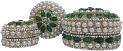 Dineshalini White & Green Multipurpose Box Vanity Box