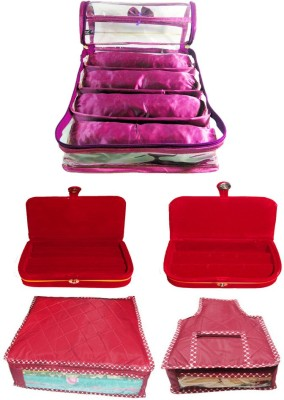 Atorakushon Satin 4 Rods Bangle box, Jewellery Box Ring & Earring boxes with Saree & Blouse Cover Storage Case Vanity Box