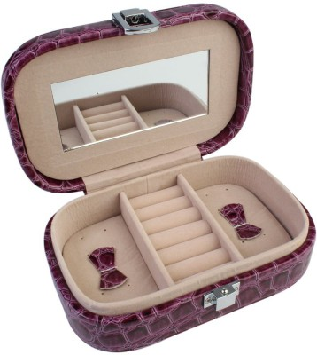 BlushBees Compact Leather Jewelry Box Casket with Latch & Mirror - Organiser Vanity Box